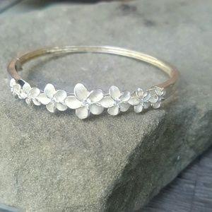 Sterling plumeria bracelet